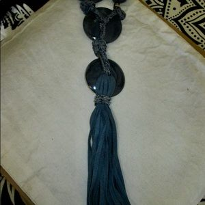 Chico's Long Tassel Pendant/Necklace in Navy